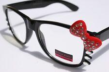 Fashion Women Rhinestone Black frame Red Bowtie Hello Kitty Nerd Lens GLASSES
