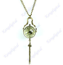 New Vintage Style Glass Ball Steampunk Pocket Watch Antique Brass Necklace Gift