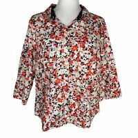Christopher & Banks Coral Floral Button Font Top 3/4 Sleeve Cotton Blouse Women