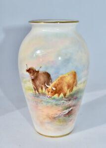 Vintage Royal Worcester HIGHLAND CATTLE Vase Signed E Townsend 10.4cm/G481