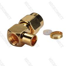 "20x SMA male plug right angle 90 deg Semi Rigid cable RG402 .141"" RF connector"