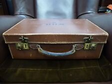 vintage old Genuine Pig Skin leather Suitcase Luggage with Brass clasps