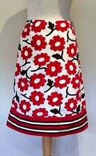 BODEN SKIRT SIZE 12 L RED CREAM FLORAL COTTON PENCIL