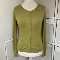 "Seasalt Green ""Grey Seal"" Cardigan Size 14 Merino Wool & Alpaca Blend Pockets"