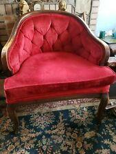 Mid Century Barrel back Pub Chair Red Velvet Tufted