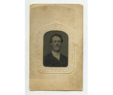 Tintype Studio Portrait Man W/ Mustache, 1/16 Plate, Period Mat