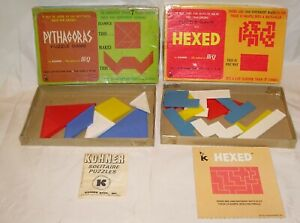 Vintage Pythagoras & Hexed Puzzle Games by Kohner - All Game Pieces, No Manuals