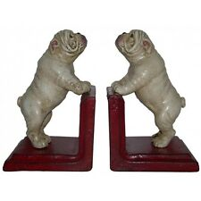 Hand Painted Cast Iron British Bulldog Bookends - Red Base
