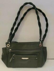 Rosetti  Dark Hunter Green Purse Braided Shoulder Straps Bag