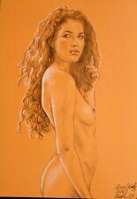 Originale AKT Zeichnung Nude Drawing Line Study auf Papier on Paper A3 2961