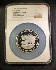 1981 UGANDA, Silver 500 SHILLINGS ELEPHANTS - PROOF, RARE - NGC PF 69 UC