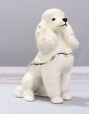New Trinket Box Gift Crystals White Poodle Dog Animal Necklace