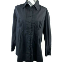 Soft Surroundings Womens Petite PXL Black Pleated Tunic Button Down Shirt