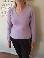 Lilac Cashmere V Neck Jumper Size L. UK 12