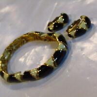 Vintage 1990's Bracelet Earrings SET Black White Enamel and Gold