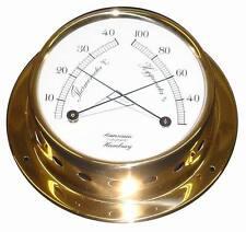 Schiffs Thermometer / Hygrometer 110 mm Messing leicht Schiffs-Instrument