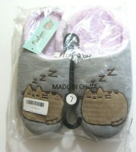 Pusheen The Cat Plush Slippers Size 7 Slide On New Pink and Gray