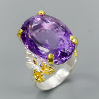Vintage SET30ct+ Natural Amethyst 925 Sterling Silver Ring Size 8/R119906