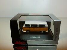 SCHUCO VW VOLKSWAGEN T2 BUS PTT - YELLOW + WHITE 1:87 - VERY GOOD IN BOX