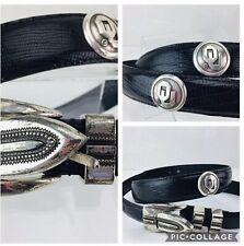 Men's Black Italian Leather Belt with Ou University of Oklahoma Conchos Sz 42�