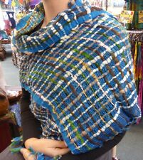 Netted Wool Mix Scarf Multi Colour Woolen Woven Style Blue Tones