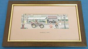 VINTAGE CASH DAIMLER CAR 1902 STREET SCENE PENFOLD POST BOX WOVEN SILK PICTURE
