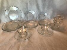 Clear Glass Dinnerware Set w/ Wave Edge Detail For 4 w/ Dip Bowl And Saucer-22pc