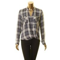 LAUREN RALPH LAUREN NEW Women's Plaid Surplice High-low Blouse Shirt Top TEDO