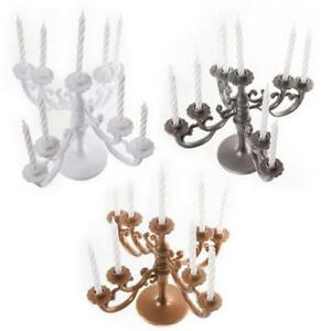 Candelabra Design Cake Candle Holder &  9 Candles choice of 3 colours reusable