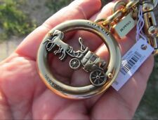 NEW COACH key ring horse carriage gold 32227 hang tag logo brass fob chain class