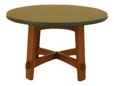 44958EC: STICKLEY Round Green Leather Top Mission Oak Dining Table