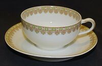 Theodore Haviland Limoges France Cup & Saucer Green - Red Geometric Design