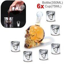 Crystal Skull Head Vodka Whiskey Shot Home Bar Glass Bottle Decanter+6 Cup Set