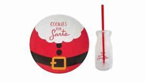 St. Nicholas Square Cookies for Santa Plate & Milk Jar Christmas Set NEW