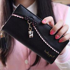Women's Zip-around Leather Bifold Wallet Bifold Clutch RFID Blocking Long Purse
