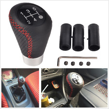 Universal 5 Speed Black Leather Redline Manual Car Gear Shift Knob Shifter Lever