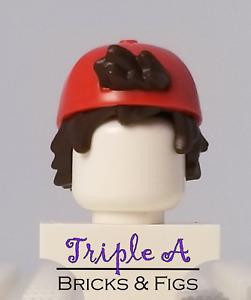 New Lego Red Backwards Hat Baseball Cap Dark Brown Hair Black