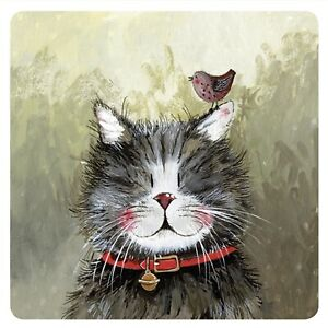 """Alex Clark Cat Kittens Drinks Coaster Table Protector """"Klaus"""" Home Decor Gift"""