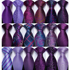 Purple Silk Woven Paisley Floral Solid Mens Necktie Hanky Cufflinks Wedding Set