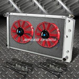 "3-ROW ALUMINUM RADIATOR+2X 10""FAN RED FOR 73-80 CHEVY C/K P20/P30 PICKUP l6/V8"