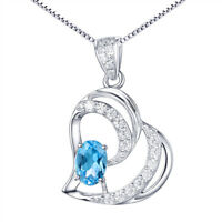 Natural Blue Topaz Double Hearts Sterling Silver Pendant Necklace Gifts For Her