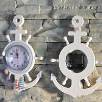 Nautical Theme Beach Ship Wheel 33cm Dia Wall Clock Hanging Decor Ornament g