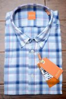 Hugo Boss $145 Men's EquatorE Blue Plaids Lightweight Cotton Casual Shirt NEW L