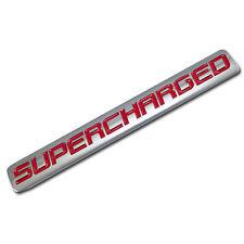 CHROME/RED METAL SUPERCHARGED ENGINE RACE MOTOR SWAP BADGE FOR TRUNK HOOD DOOR C