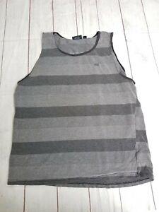 VANS  Men's Tank Top Gray Striped Size X-Large XL Cotton (Size Runs Small)