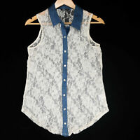 Wallflower Women's Juniors White Floral Lace Sleeveless Button Up Top Size Large