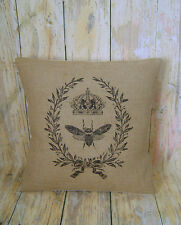 "French Bee - 16"" Hessian cushion cover French vintage shabby chic"