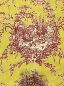 """Waverly Classics Petite Rooster Toile Yellow Red Cafe Curtain Pocket 28"""" x 39"""""""