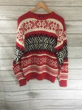 VTG 90s Gap Red Black Argyle Snowflake Nordic Cotton Sweater Preppy MEDIUM