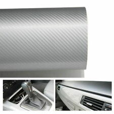 """Silver White Glossy Finish Carbon Fiber Vinyl Wrapping Sheet Film 24"""" x 48"""""""